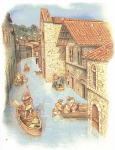 Inondazione lungo l'attuale Via Guglielmi (tra XV e XIX secolo) .Copyright : Tavola da Donato Spedaliere