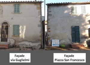 Les deux façades de la partie mise en vente de cette petite maison.