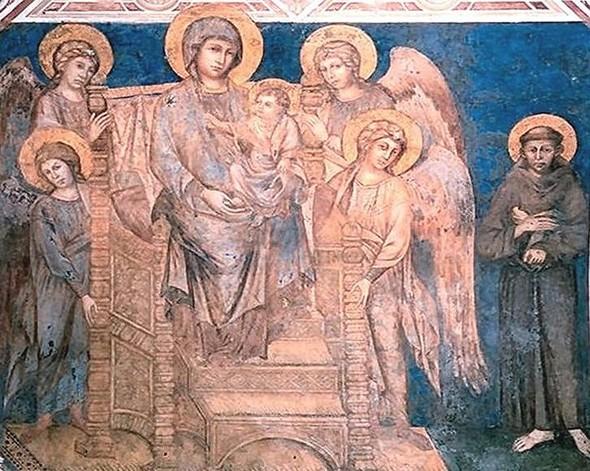 Cimabue, Vierge en majesté avec l'Enfant, saint François d'Assise et quatre anges, Basilique inférieure de Saint François, Assise.