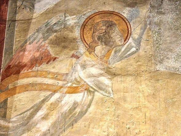 Détail de la fresque : un ange.
