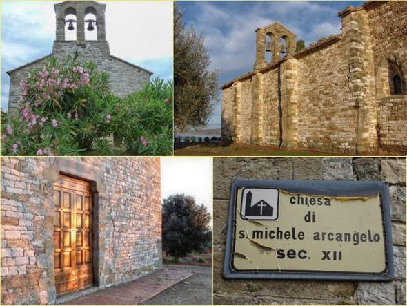 Diverses vues de l'église San Michele Arcangelo, au sommet de l'Isola Maggiore.