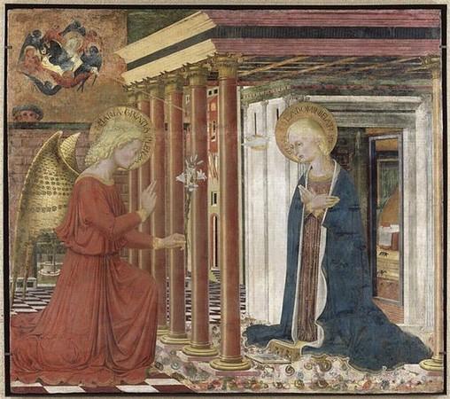 L'Annonciation de Caporali. 3° quart du XV° siècle Musée du Petit Palais d'Avignon.