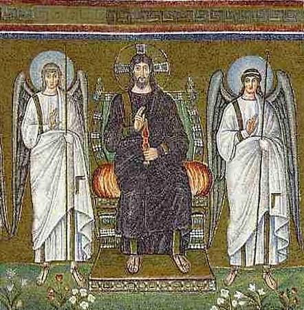 Christ en majesté. Saint Apollinaire-le-neuf, Ravenne.         493-526.