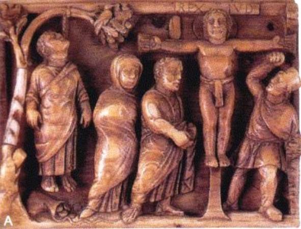 Crucifixion. , A gauche Judas qui se suicide. Coffret en ivoire, British Museum. 420-430