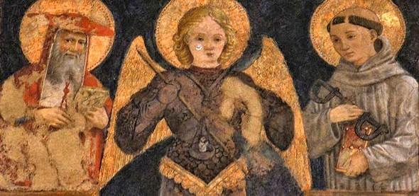 De gauche à droite :  saint Jérôme, saint Michel Archange, saint Léonard.
