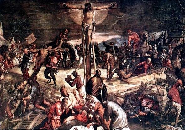 Le Tintoret. La Crucifixion. 518 cm X 1.224 cm. Scuola Grande di San Rocco, Venise. 1565