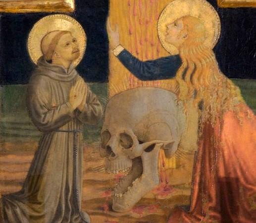 De gauche à droite : saint François, le crâne, sainte Marie Madeleine.