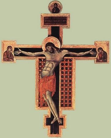 Cimabue.  Crucifixion. Peinture sur bois, San Domenico, Arezzo. 1268-1271.