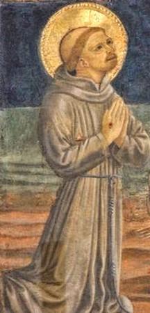 Saint François. Stigmate visible sur sa main.