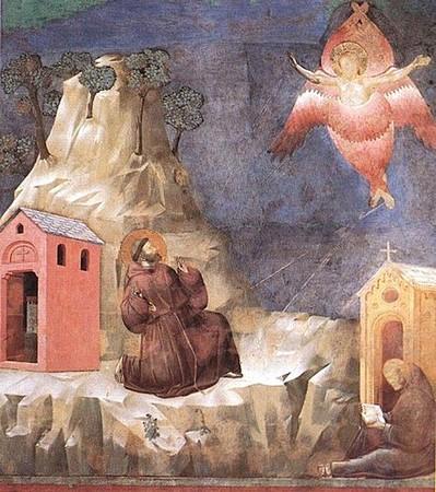 Giotto.  Saint François les stigmates, sur le mont Verna.  Fresque de la vie de saint François.  Nef de l'église supérieure de la Basilique Saint-François, Assise.  Dernière décennie du XIII° siècle