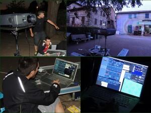 Installazione e prove dell'attrezzatura informatica et di proiezione sotto la directione di Marcus J. Cotterell (in piedi, foto superiore a sinistra).