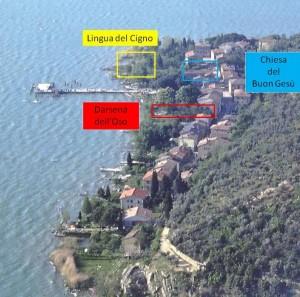 Piano di Isola Maggiore con i tre luoghi di questa sera.