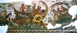 Gouvernail d'une galère antique   -   Dionysos et les pirates, mosaïque du site de Dougga.