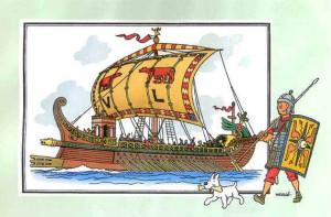 Galère romaine selon Hergé.