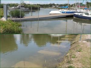 L'accès de l'embarquement implique désormais une légère montée. Les travaux de la berge nord sont sous eau   -   06/06/2013.
