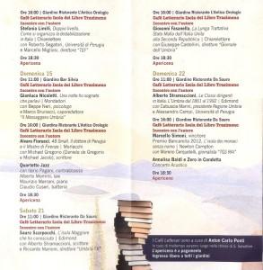 Il programma completo di settembre 2013 all'Isola Maggiore, Isola del Libro.