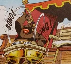 Le rythme du tambour donnant la cadence aux rameurs !