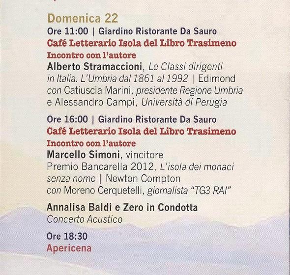 Programma di domenica 22 sttembre 2013.