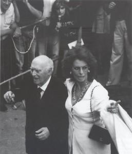 Sophia Loren, attrice, con Carlo Ponti   -  Spoleto, 10 luglio 1966.