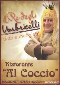 """Récente carte de visite du restaurant """"Al Coccio """"   -   Marco Pignattini en """"roi des pâtes ombriennes""""..."""