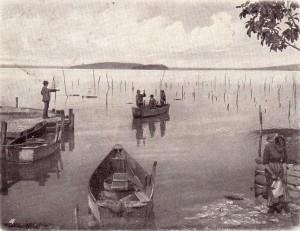 1903   -   Les Isola Maggiore et Minore vues depuis la rive de Passignano   -   Barques traditionnelles de pêche.