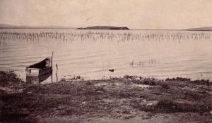 1917 - Les Isola Maggiore et Minore vue de nouveau au départ de la rive de Passignano   -   Une barque traditionnelle de pêche.