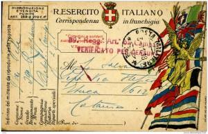1918   -   Carte postale militaire italienne avec le visa de la censure.