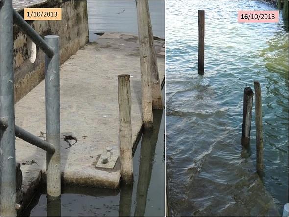 Comparaison du niveau d'eau dans notre darsena privée (Isola Maggiore) les 1 et 16 octobre 2013.