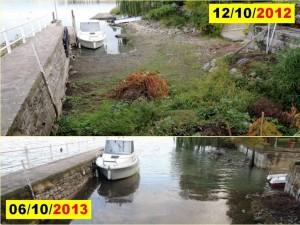 Comparaison de l'état de notre petit port privé au début du mois d'octobre en 2012 et 2013.