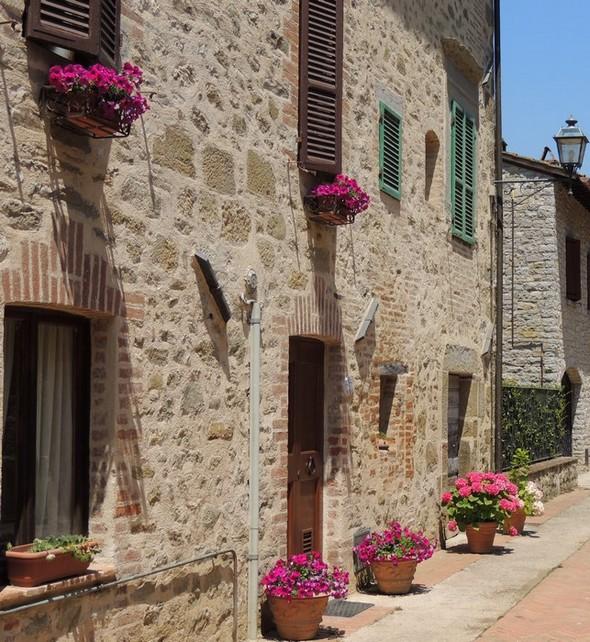 Une façade fleurie de la via Guglielmi   -   Isola Maggiore, juillet 2013.