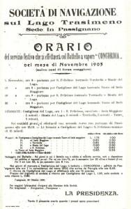 """Novembre 1905 - Horaire et tarif du """"Concordia""""."""