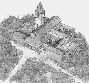 Reconstitution du monastère franciscain à l'Isola Maggiore - Dessin de Sonato Spedaliere.