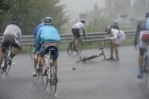 Condition météo exécrables aux Mondiaux de cyclisme à Florence le dimanche 30/09/2013.