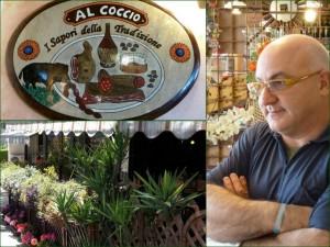 """Le restaurant """"A Coccio"""" et son patron, Marco Pignattini, notre ami."""