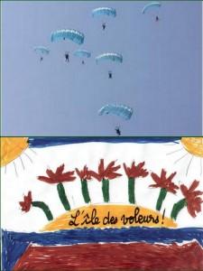 """Fantasme de Ros d'une expulsion des """"mauvais"""" polticiens, par parachutage au-dessus de l'Ile des Voleurs."""