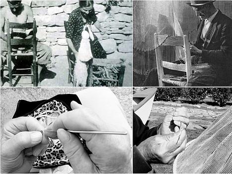 Réparation des filets et broderie de dentelles dans la via Guglielmi (Isola Maggiore).