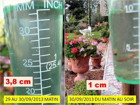 Relevés du pluviomètre de notre jardin pour les journées des 29 et 30 septembre 2013.