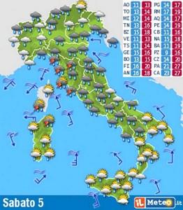 Prévisions météorologiques pour le samedi 5 septembre 2013.