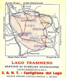Carte des différentes traversées assurées par les bateaux de la S.A.N.T. sur le lac Trasimène.