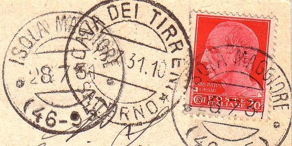 Verso d'une carte postale arborant le cachet de la poste de l'Isola Mggiore.
