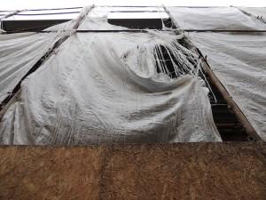 La protection de la maison écroulée a quelque peu souffert.