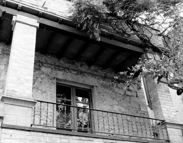 Porte-fenêtre d'un balcon de la via Guglielmi, orné d'un beau lilas.