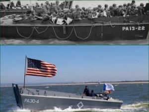 Les barges militaires américaines de débarquement de 1944.