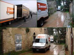 7/01/2009 - Transfert du camion de déménagement belge dans deux camionnettes italiennes que le Grifona va ensuite amener à l'Isola Maggiore.