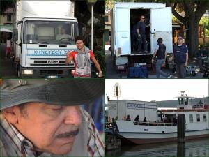 """Le Grifone amène toute la régie technique nécessaire pour le tournage d'une séquence de la série italienne """"Don Matteo""""."""