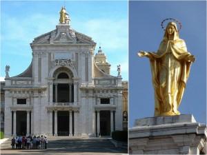 "La basilique Santa Maria degli Angeli surmonté de sa Vierge ""miraculeuse""."