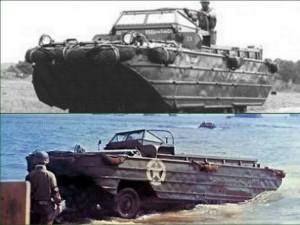 Véhicule militaire amphibie de l'armée américaine en 1944.