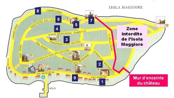Plan de l'Isola Maggiore avec des indications chiffrées pour situer les photos ci-dessous.