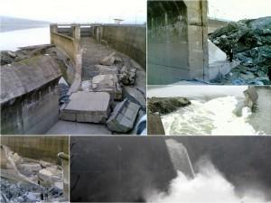 Rupture de la digue de décharge du lac de Montediglio le 29 décembre 2010.