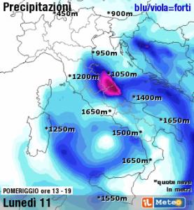 Carte météo concernant les précipitations attendues le 11 novembre 2013.